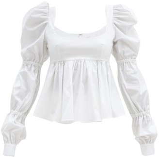 Brock Collection Roero Puff-sleeved Cotton-blend Top - White