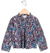 Papo d'Anjo Girls' Pleated Floral Print Top