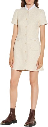 Sandro Metallic Cotton Blend Tweed Short Sleeve Dress