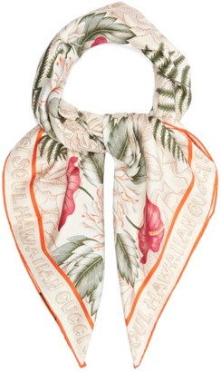 Gucci Hawaiian-print Silk Scarf - White Multi