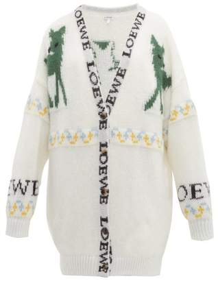 Loewe Deer-jacquard Mohair-blend Cardigan - Womens - Cream Multi