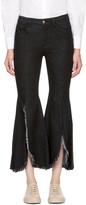 Sjyp Black Front Cut-off Wide Jeans