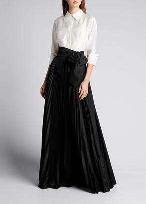 Rickie Freeman For Teri Jon Colorblock Taffeta Shirtdress with Pleated Skirt