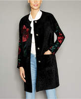 The Fur Vault Floral-Embroidered Shearling Lamb Coat