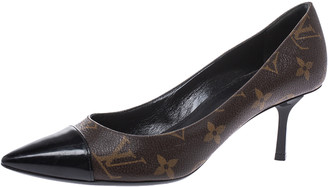 Louis Vuitton Brown Monogram Canvas And Patent Leather Trim Fetish Pointed Toe Pumps Size 35