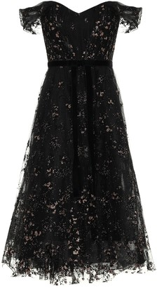 Marchesa Notte Off-the-shoulder lace midi dress