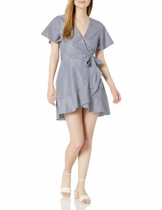 J.o.a. Women's Flare Short Sleeve Pin Stripe Wrap Dress