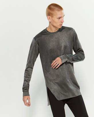 Numero 00 Grey Raw Hi-Low Hem Long Sleeve Tee