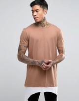 Asos Super Longline T-Shirt With Contrast Asymmetric Hem Extender In Tan