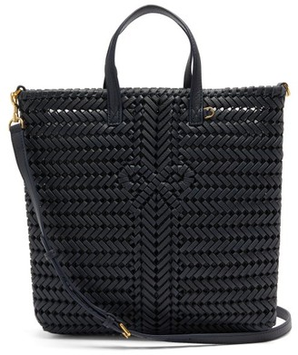 Anya Hindmarch The Neeson Small Woven-leather Tote Bag - Dark Blue