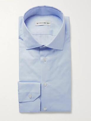 Etro Light-Blue Slim-Fit Paisley-Print Cotton-Poplin Shirt
