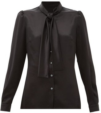 Dolce & Gabbana Pussy-bow Silk Satin Blouse - Womens - Black