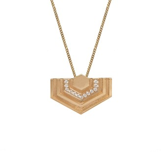Edge Only 14ct Gold Diamond Hexagon Pendant