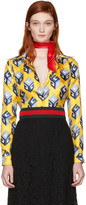 Gucci Yellow Cube Silk Shirt