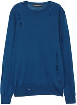 Alexander Mcqueen Blue Distressed Wool And Silk Blend Jumper