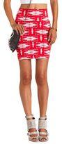 Charlotte Russe Coral Tribal Cotton Mini Skirt