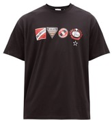 Burberry Litford Badge-print Cotton-jersey T-shirt - Mens - Black