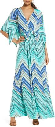 Ilse Jacobsen Chevron Stripe Belted Maxi Dress