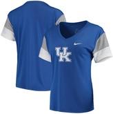 Nike Women's Royal/Gray Kentucky Wildcats Breathe Team Sleeve Performance V-Neck T-Shirt