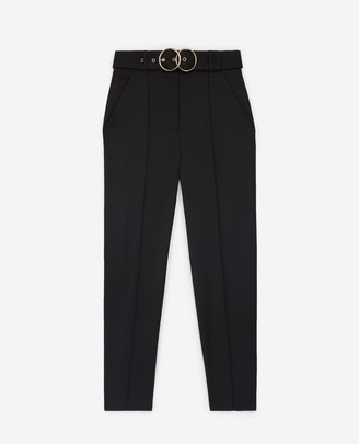 The Kooples High-rise wool straight black trousers w/belt