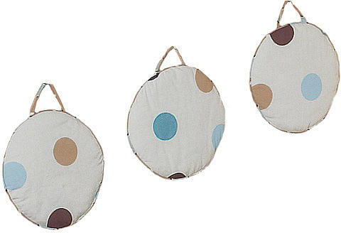 JoJo Designs Sweet Blue and Chocolate Mod Dots Collection 3-Piece Plush Wall Hanging Set