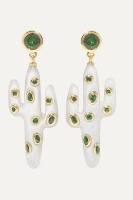 Yvonne Léon 18-karat Gold, Mother-of-pearl And Tsavorite Earrings - one size