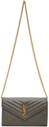 Saint Laurent Grey Monogramme Chain Wallet Bag
