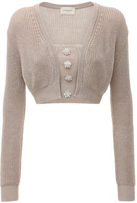 Giuseppe di Morabito Cotton Knit Twin Set W/ Crystal Button