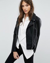 Vila Faux Leather Biker Jacket