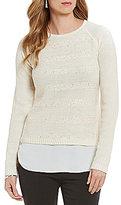 I.N. Studio Shirttail Hem Sequin Long Sleeve Top