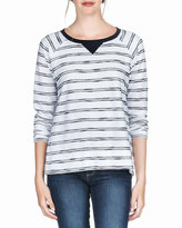 Neiman Marcus Relaxed Striped Sweater, Navy/White
