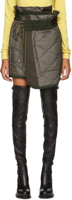 Sacai Khaki Quilted Nylon Wrap Miniskirt