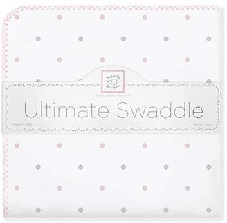 Swaddle Designs Ultimate Winter Swaddle, X-Large Receiving Blanket, Made in USA, Premium Cotton Flannel, Pastel Pink Dots (Mom's Choice Award Winner)
