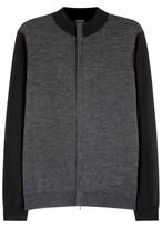 Armani Collezioni Grey And Charcoal Wool Cardigan