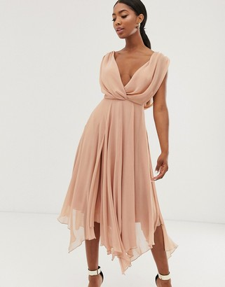 Asos Design DESIGN wrap bodice midi dress with drape back-Pink