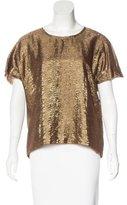 Lanvin Metallic Short Sleeve Top