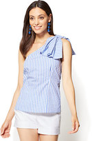 New York & Co. 7th Avenue - Bow-Detail One-Shoulder Shirt - Stripe