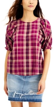 INC International Concepts Inc Plaid Puff-Sleeve Top, Created for Macy's