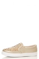 Quiz Gold PU And Sequin Skater Trainers
