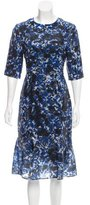 Erdem Watercolor Print Sequined Dress