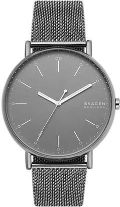 Skagen Men Signatur Gray Stainless Steel Mesh Bracelet Watch 45mm