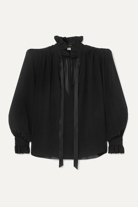 Saint Laurent Pussy-bow Silk-georgette Blouse - Black