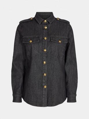 Sofie Schnoor Black Denim Raw Shirt - XS