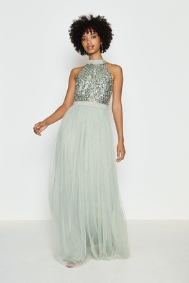 Coast Sequin Bodice Halter Maxi Dress