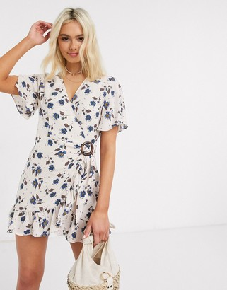 Moon River belted wrap mini dress in pink floral