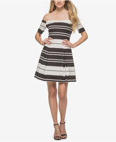 GUESS Striped Off-The-Shoulder Dress