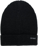 Dolce & Gabbana ribbed beanie - men - Calf Leather/Virgin Wool - One Size