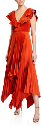 Flor Et. Al Tampico V-Neck Pleated Crepe Gown w/ Asymmetrical Hem