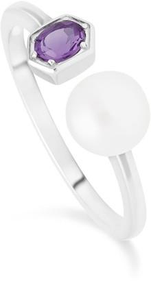 Gemondo Amethyst & Pearl Open Ring In Sterling Silver