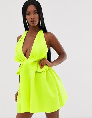 Asos Design DESIGN halter ruffle waist mini skater dress-Yellow